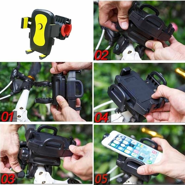 1pc Adjustable Mobile Phone Stand Holder Anti-Slip Bracket For Bike/ Scoote