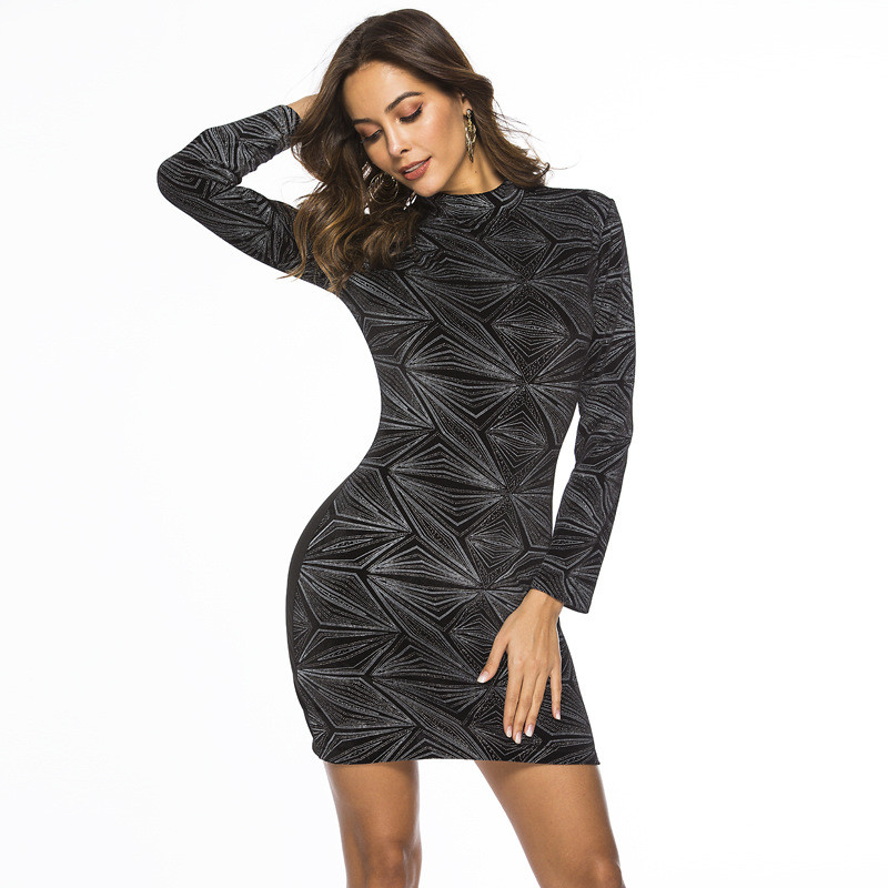2019 Women Spring Sexy & Club Party Night Dresses Bodycon Vintage Casual Long Sleeve Mini Black Dress