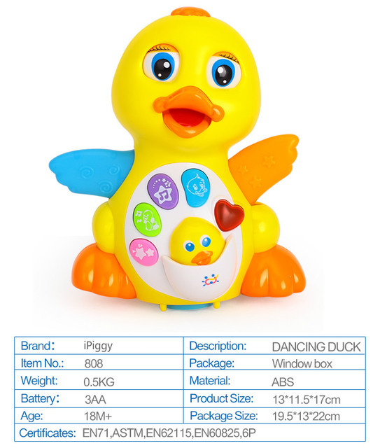 iPiggy Dancing Duck Battery Operated Toy Figure Action Toy with Flashing Lights Electric Universal Musical Baby Toys