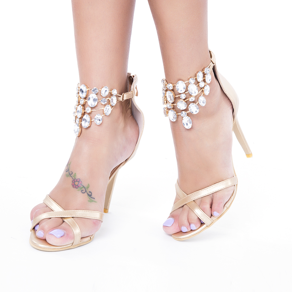 ФОТО New Beautiful Women Sandals Sexy Rhinestone Open Toe Thin Heels Sandals Popular Gold Shoes Woman Plus US Size 4-15