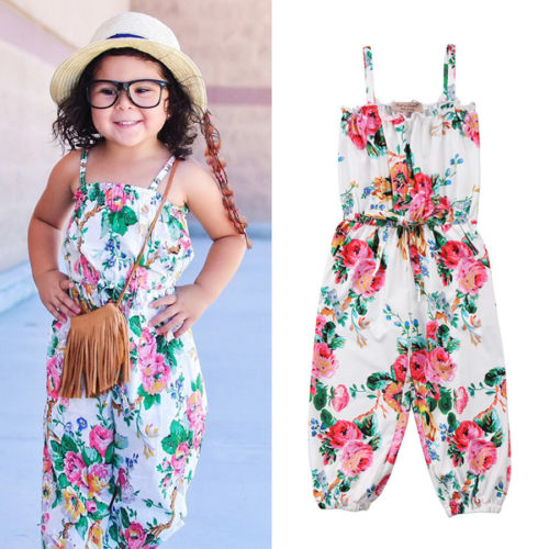 New Fashion Floral Toddler Kids Girls Romper Print Floral Strap Overalls Romper Jumpsuit Summer Outfit Clothes