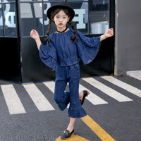 2PCS Toddler Kids Girl Clothing Set Denim Flared Sleeve Tops + Bell Bottom Jeans Trousers Outfits Children Spring Fall Clothes