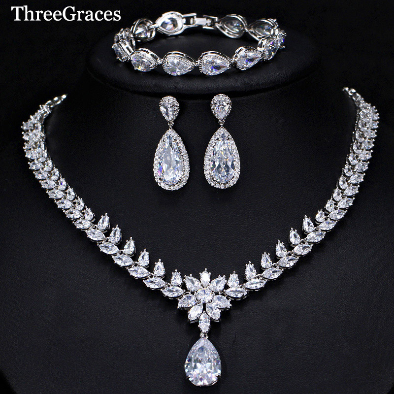 ThreeGraces 3 Piece Luxury CZ Long Water Drop Wedding Necklace Earrings Bracelet Jewelry Set For Brides Evening Party JS266 cwwzircons water drop royal blue cz necklace earrings ring and bracelet 4 piece wedding jewelry set for women bridal party t098