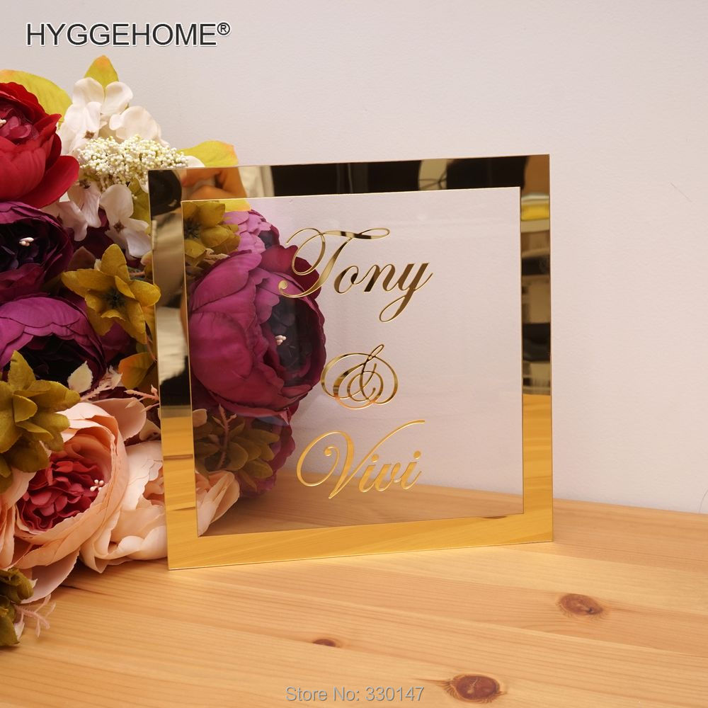 Personalized Wedding Names With Mirror Frame Custom