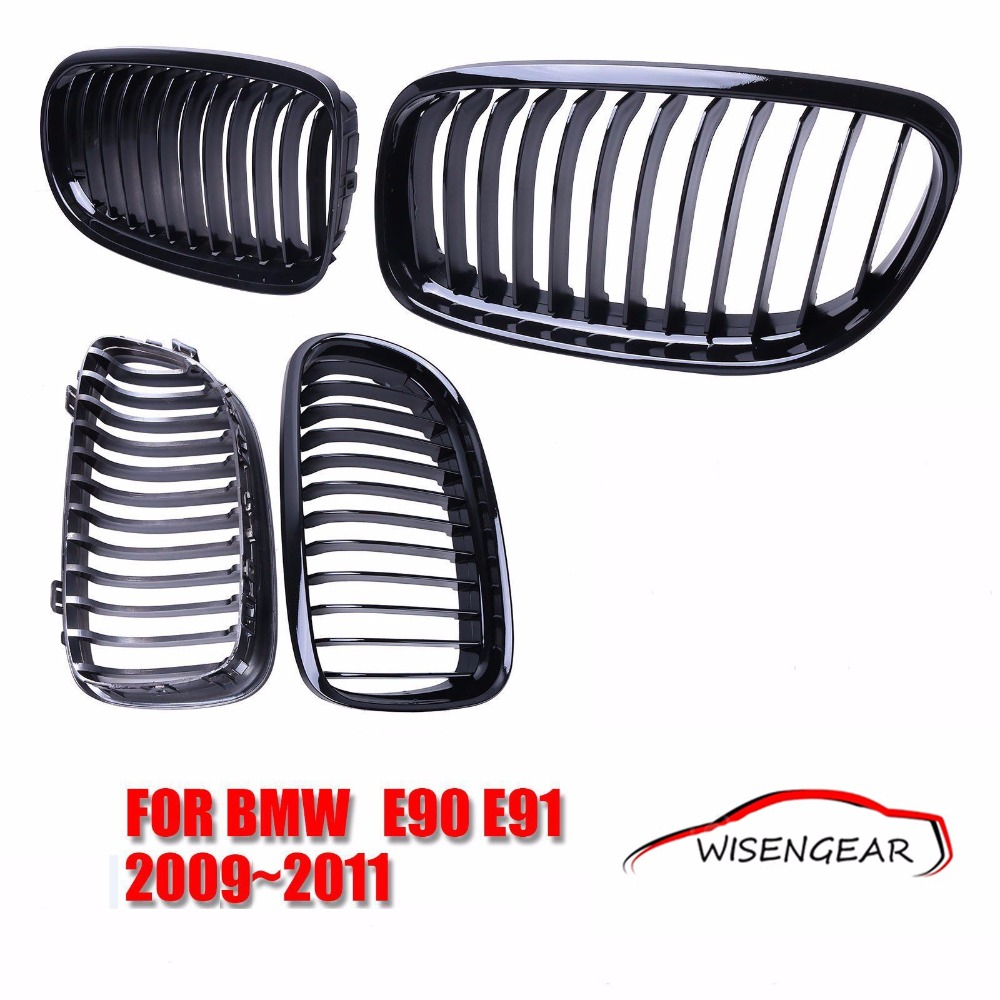 ФОТО 1set Gloss Black Front Grills Kidney Grille For BMW E90 E91 LCI 325i 328i 335i 4D 2009 2010 2011 CAR-P204 C/5
