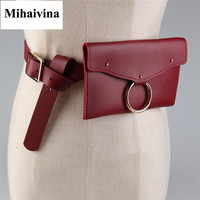 Mihaivina New Fashion Round Ring Belts Bag Waist Pouch Fanny Pack Wallet Holder Women High Quality