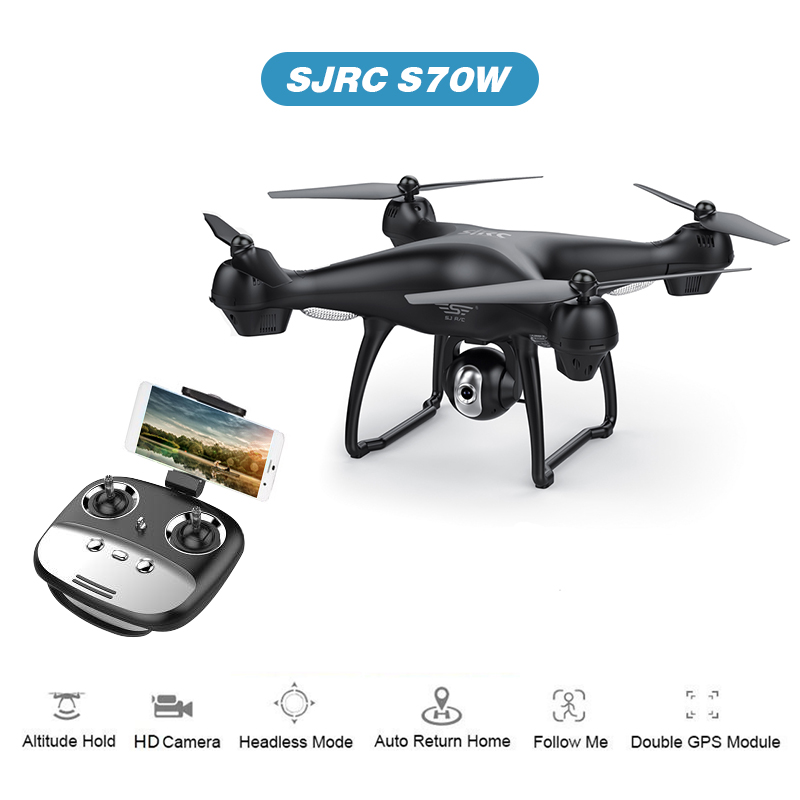 S70W GPS FPV Drone with 1080P HD FPV Wide-Angle Camera WiFi Live Video Follow Me GPS Return Home RC Quadcopter Racing Dron image