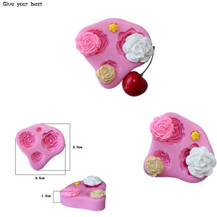 4 Rose silikonowe formy do wytłaczania kremówki formy Sugarcraft - Kuchnia, jadalnia i bar - Zdjęcie 6