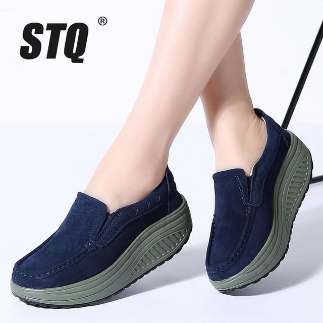STQ 2020 Thu Đế Phẳng Giày Nữ Đế Giày Sneakers Da Da Lộn Cổ Trơn Trượt Trên Bãi Cây Leo Mộc Mạch Trà 2122