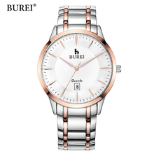 2017 Direct Selling BUREI Men's Quartz Wrist Watches With White Dial Metal Band Male Luxury Famous Brands Date Waterproof Clock