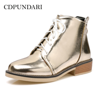 CDPUNDARI Gold Silver Ankle boots for women Low heel Winter boots shoes woman platform boots