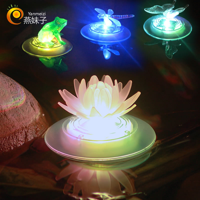 Garden Pool Floating Lotus Solar Night Light Flower Lamp for Pond Fountain Decoration Light Sensor Solar Lamps (auto changing