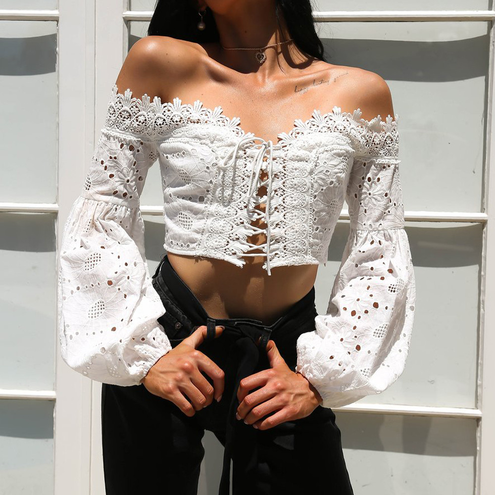Women's Clothing Fashion Ladies Off Shoulder Lace Blouses Women Summer Long Sleeve Bandage Crop Tops Shirt Sexy Hollow-out Casual White Blouse #l
