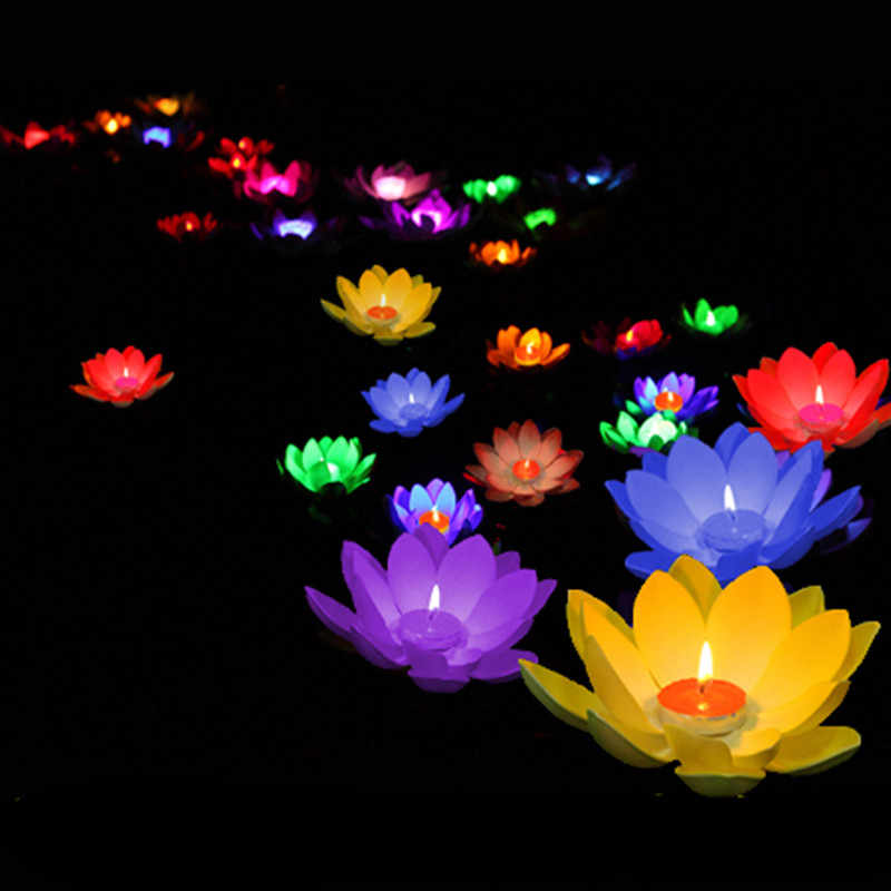 Multicolor lotus  lamp pray Wishing floating water lanterns with candle for birthday wedding party decoration