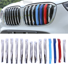 14pcs ABS Chrome Car Head Front Grill Cover Decoration Trim For BMW X1 F48 2016 2017 Accessories Car Styling car body kits abs chrome front grill cover car sticker for toyota vios 2017