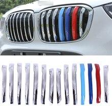 14 шт ABS Chrome автомобиля Глава Передняя решетка Обложка украшения отделка для BMW X1 F48 2016 2017 автомобильные аксессуары для укладки
