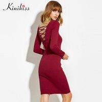 Kinikiss 2017 New Winter Sweater Male Elastic Black Bodycon Dress Cashmere Oversized Sweater Dress Sweater Sexy