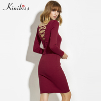 Kinikiss 2017 New Winter Sweater Male Elastic Black Bodycon Dress Cashmere Oversized Sweater Dress Sweater Sexy