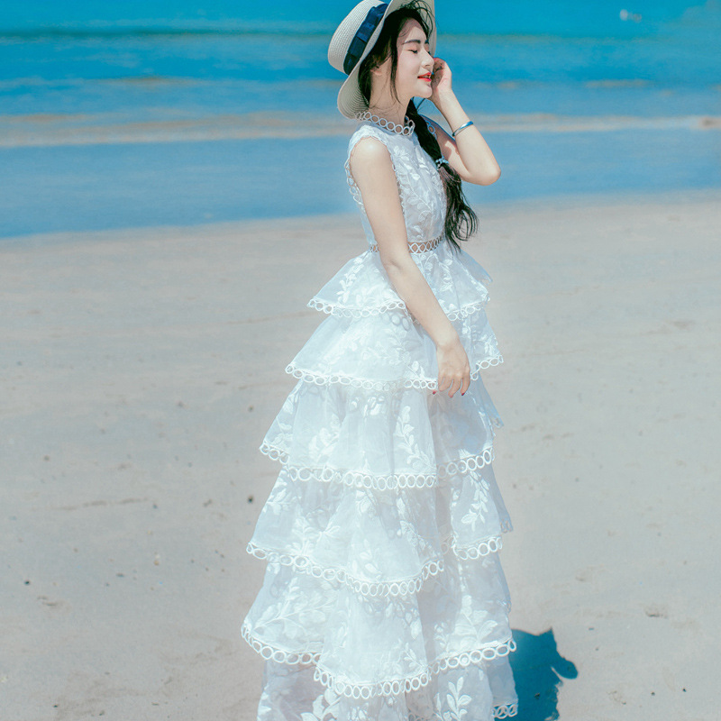 ShowMi Summer Organza Beach Dress Women Elegant Tiered Lace Cake Ruffles Hollow Out Embroidered Maxi Dress White Long Dresses