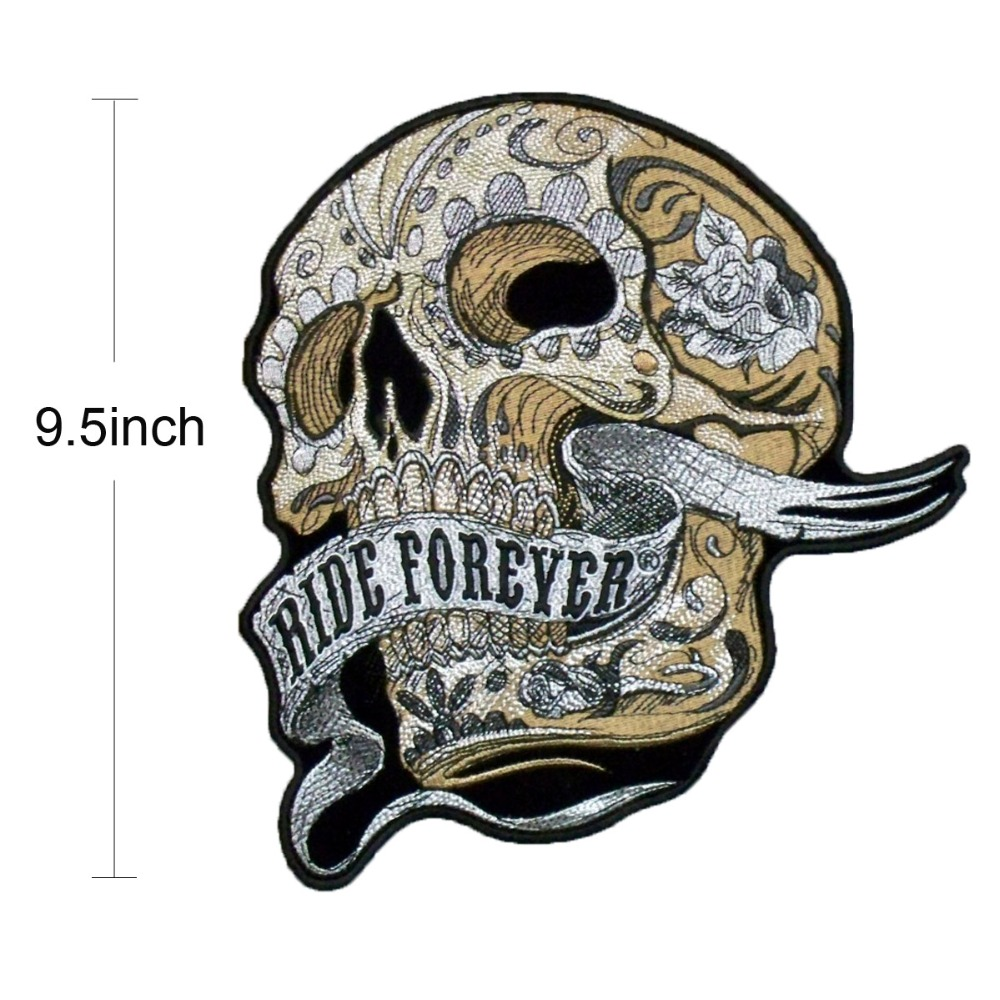 Ride forever skull patch motorcycle embroidery iron on custom punk patches for clothing biker stickers in patches from home garden on aliexpress com