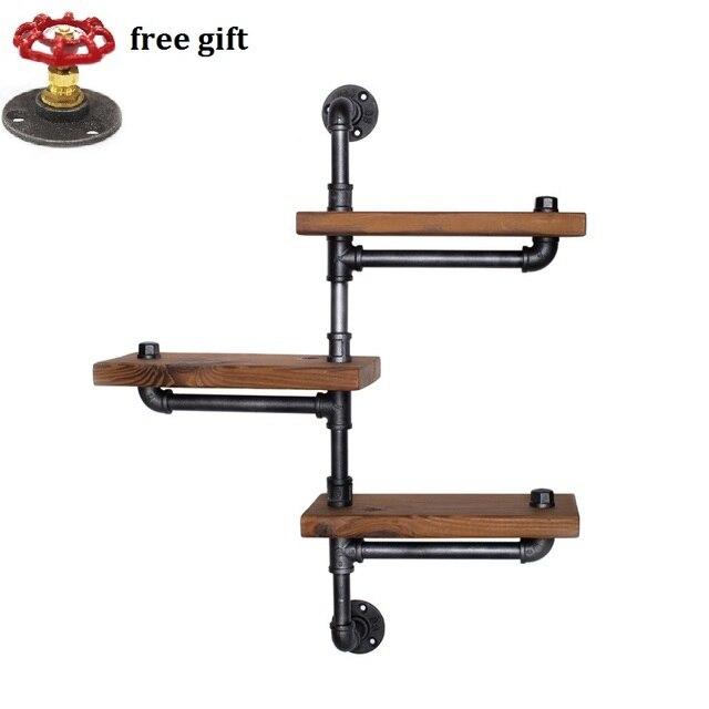 wood size 30 13 5cm american retro iron pipe racks solid wood shelf