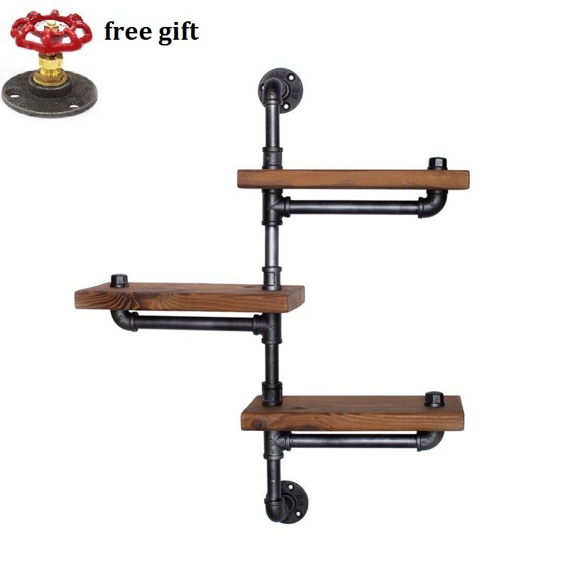 Wood Size 30*15cm American Retro Iron Pipe Racks Solid Shelf Bookcase Shelves Display Industrial Pipes Racks-Z22