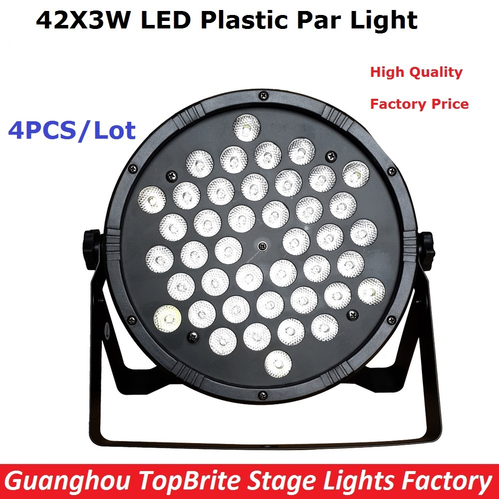 ФОТО 4Pcs 42X3W RGBW 4IN1 Led Flat Stage Par Light High Power LED Par Cans Home Party DJ Disco Professional Stage Equipments Lighting