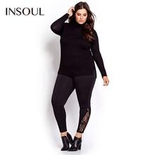 INSOUL Plus Size New Fashion Women Slim Pants Lace Inserts Clothing Basic Solid Streetwear  Big Size Leggings 3XL 4XL 5XL 6XL