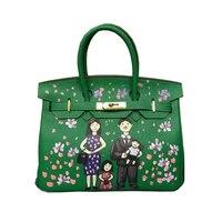 Women S Doodle Bag Genuine Leather Graffiti Hand Painting DIY Cartoon Family Tote Handbags Real Learher