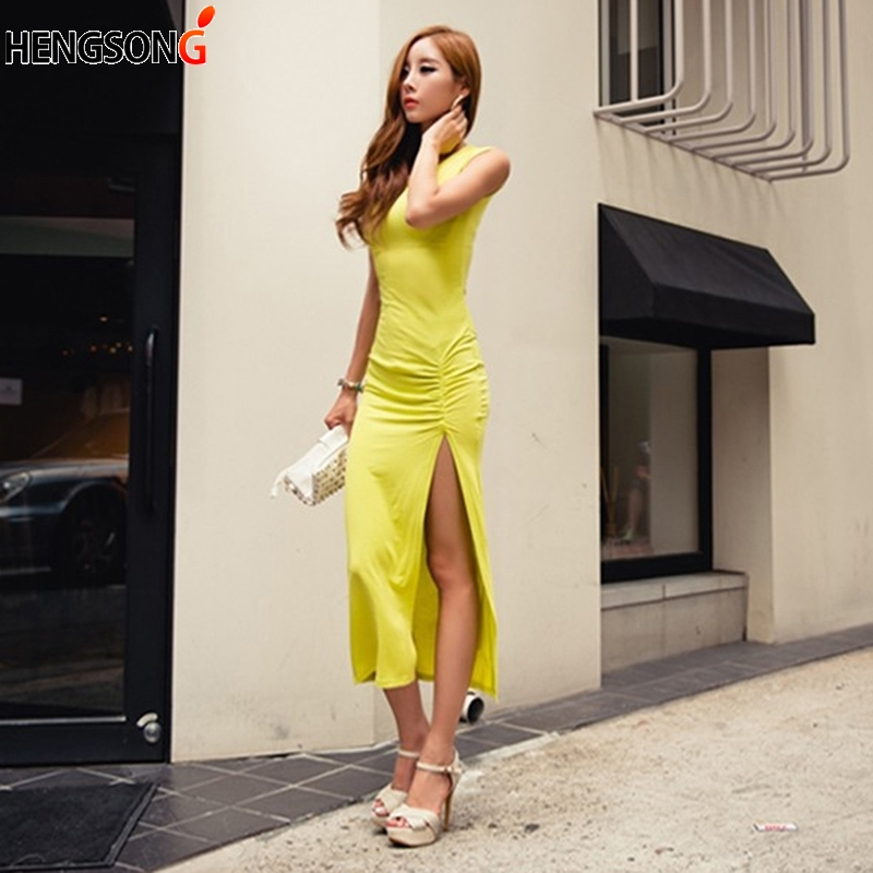 Women Summer Dress Women Fashion Casual Sheath Bodycon Sexy Split Dress Slim Elastic Sleeveless High Slit Long Dress Vestidos