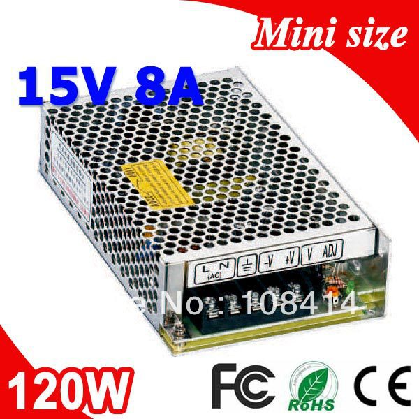 MS-120-15 120W Mean well LED 15V Power Supply 8A Transformer 110V 220V AC to DC Output ms 75 5 75w mean well type led power supply 5v 10a transformer 110v 220v ac dc output