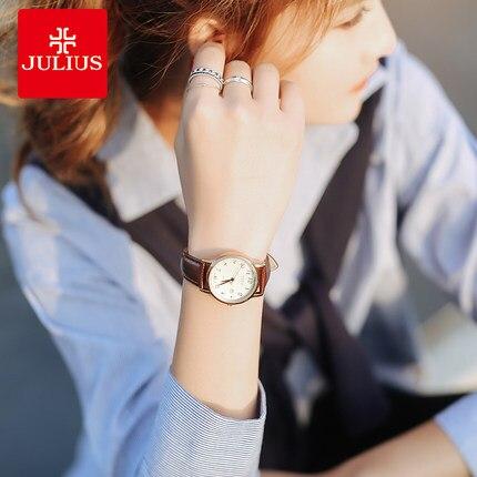 6fe0b940812 JULIUS relógio retro versão Coreana do simples moda das mulheres estudantes  do sexo feminino relógio quart calendário cinto de couro à prova d  água em  ...