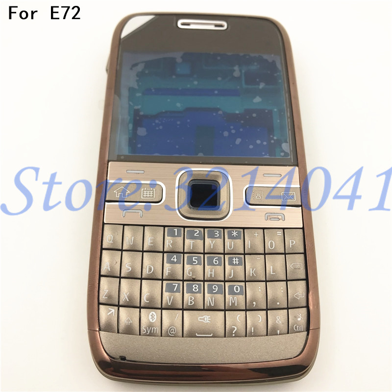 Original For Nokia E72 Housing Front Faceplate Frame Cover Case+Back Cover/battery Door Cover+Keypad+Logo