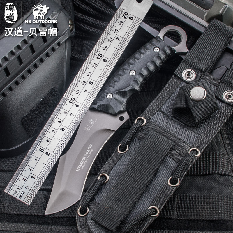HX OUTDOORS Beret Tactics Straight Camping Hunting Knife Karambit Men's Fixed Blade Belt Knives HRC59 440C Titanium Coated Steel hx outdoors camping knife d2 blade saber tactical fixed knife zero tolerance hunting survival tools cold steel straight knife
