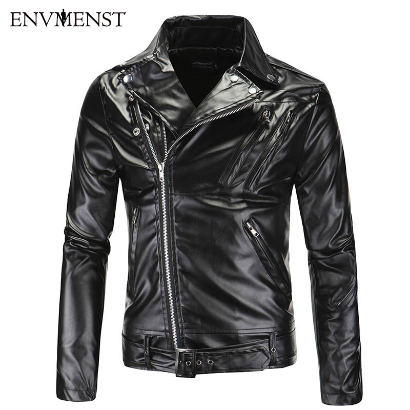 Envmenst Causal Leather Jackets Male Autumn Winter More Zipper Outerwear Hot Sale Good Quality Jacket Motorcycle Coat