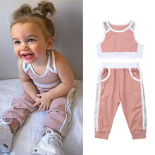PUDCOCO Newest Girls Mesh Tracksuit Crop Tops+Long Pants 2Pcs Cotton Outfits Active Child Girls Sets Clothes 1-6T(China)