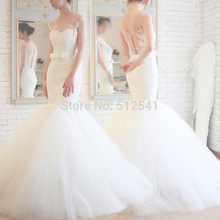 2015 Charming Sheer Lace Wedding Dresses Mermaid Trumpet Sweetheart Applique Organza Bridal Gowns yk1A329