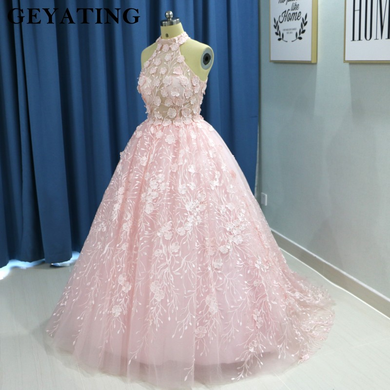 Big Sale Sexy Halter Pink Lace 3d Floral Ball Gown Arabic Evening