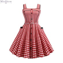 Sexy Retro Pink Plaid Dress 2019 Audrey Hepburn Vintage Party Dress 50s 60s Gothic Pin Up Rockabilly Dress Plus Size Robe sexy halter party dress 2019 retro polka dot hepburn vintage 50s 60s pin up rockabilly dresses robe plus size elegant midi dress