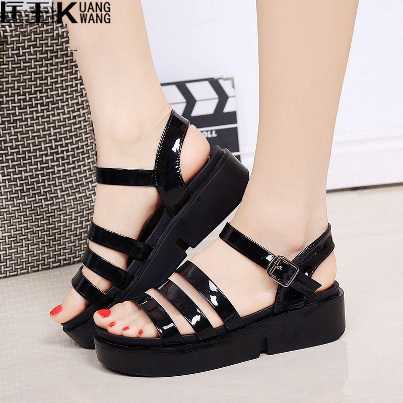 2017 Fashion Women Sandals Platform Wedges Gladiator Sandals Women Summer Shoes Flat Black White ladies sandals women sandals 2017 summer shoes woman wedges fashion gladiator platform female slides ladies casual shoes flat comfortable