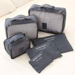 6 pçs homens e mulheres saco de viagem roupa interior sutiã embalagem cubo organizador de bagagem bolsa família armário divisor organizador sacos