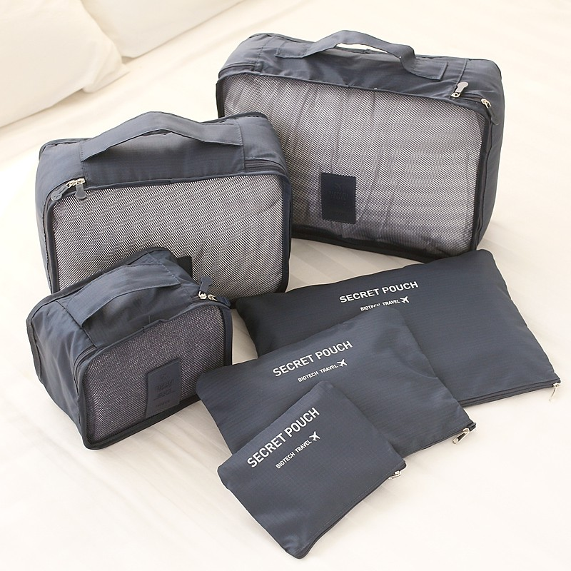 6PCS Men and Women Travel Bag Clothes Underwear Bra Packing Cube Luggage Organizer Pouch Family Closet Divider Organiser Bags
