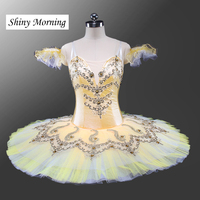 Professional Ballet Tutu Girls Yellow White Classical Ballet Tutu Stage Costume Adult Performance Pancake Tutus Shiny