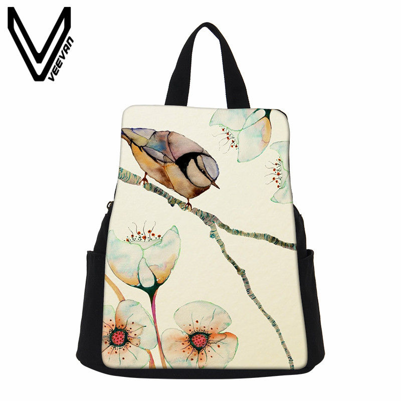 VEEVANV Small Women Backpack Canvas Shoulder Bags Fashion Girls School Backpacks Female Watercolour Printing Bag Casual Rucksack