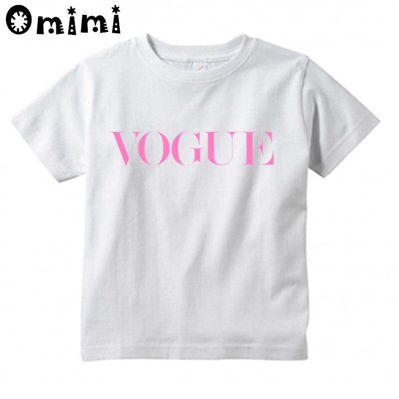 Baby Jungen/Mädchen VOGUE Buchstaben Gedruckt T Shirt Kinder Kurzarm Tops kinder Lustige Weiße T-Shirt