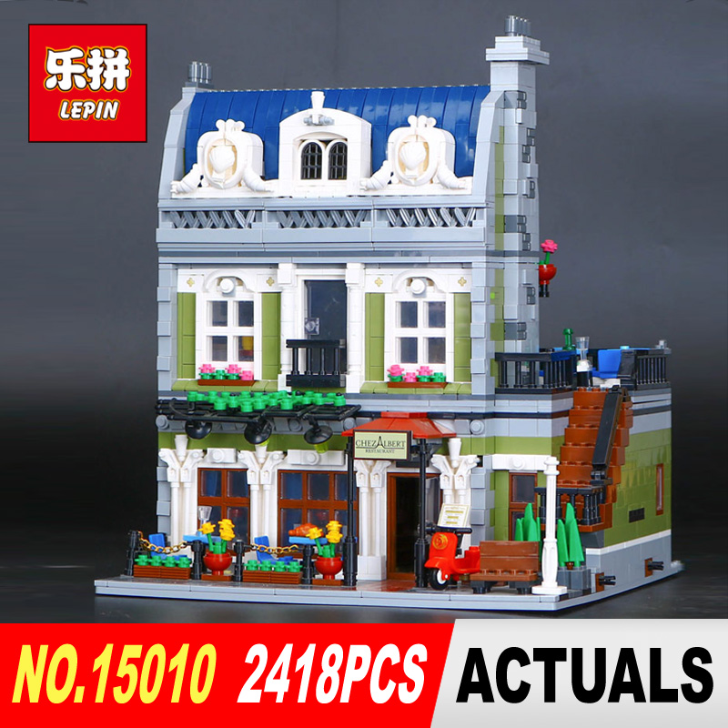 With light Lepin 15010 2418Pcs Expert City Street Parisian Restaurant Model Building Kits Blocks DIY Toy Compatible 10243 new lepin 15010 expert city street parisian restaurant model building kits blocks funny children toys compatible with 10243 gift
