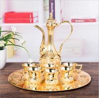 Europe gold/sliver color metal wine glass hip flask bar set antique hip flask wine glass gift set living room decoration JJ063