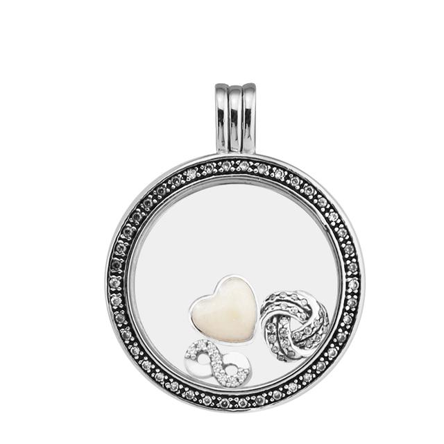 Large fandola floating locket silver pendant and necklaceclear cz large fandola floating locket silver pendant and necklaceclear cz with inner infinite love parts aloadofball Choice Image