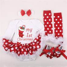 Christmas Baby Girls Clothes Sets Infant Santa Claus Tutu Jumpsuit+Headband+Leggings+Shoes Newborn Baby Romper Dress Sets(China)