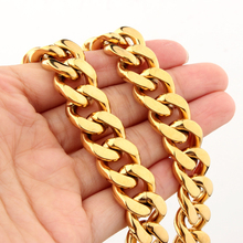 7-40 Choose High Polished 316L Stainless Steel 15MM Gold Cuban Curb Link Chain Mens Necklace or Bracelet Bangle